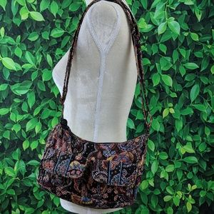 Vera Bradley Paisley Boho Shoulder Bag Brown/Black